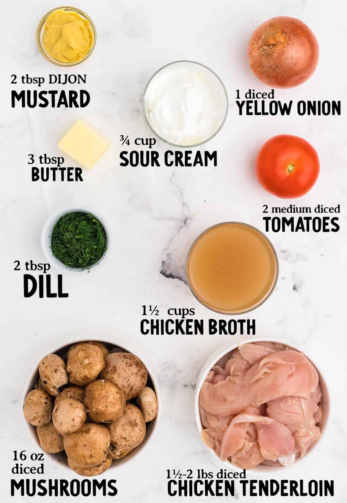 ingredient checklist to make chicken stroganoff