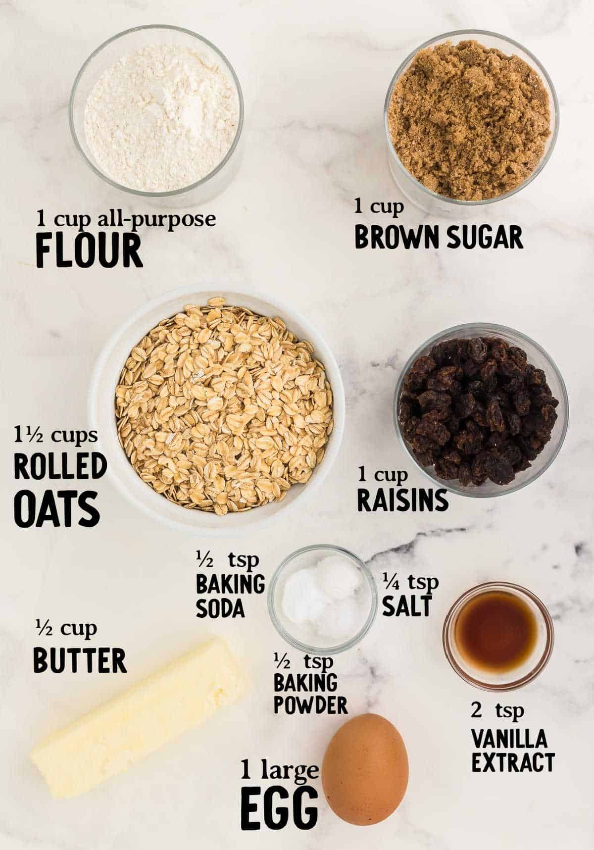 ingredient checklist to make oatmeal cookies