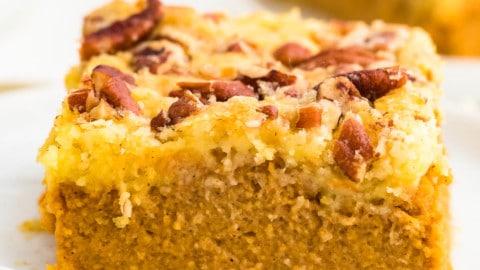 closeup of a slice of freshly baked Pumpkin Dump Cake