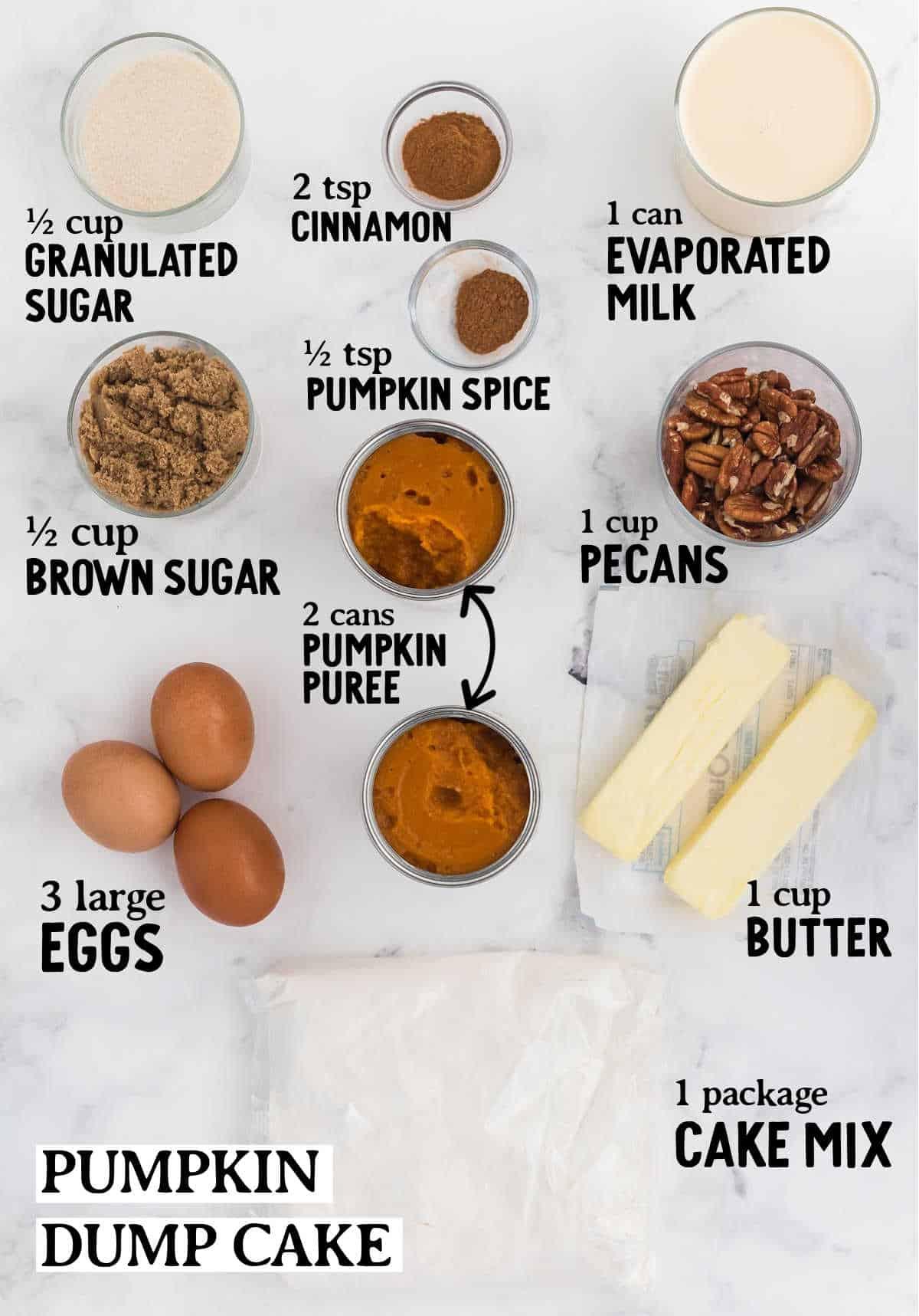 ingredients checklist to make a pumpkin dump cake