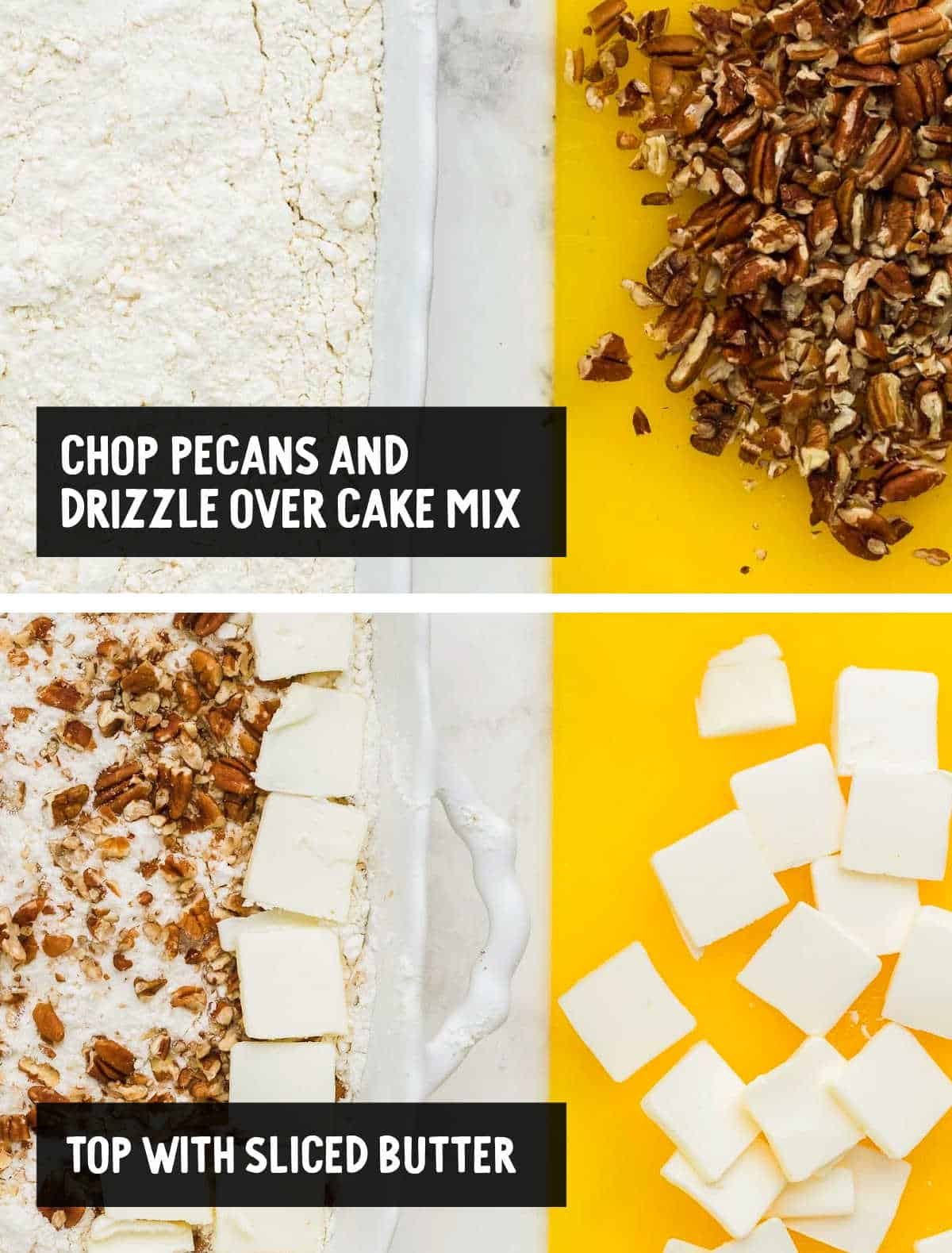 collage: topping the yellow cake mix with chopped pecans and butter