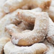 A plate of freshly baked almond crescent cookies also known as Vanillekipferl