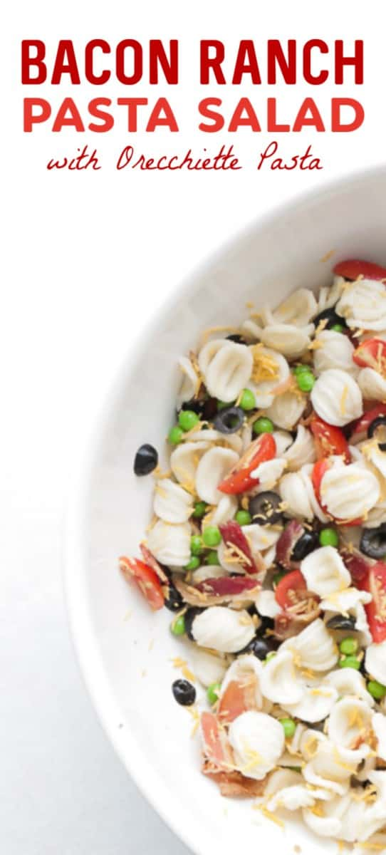 The easiest Bacon Ranch Pasta Salad
