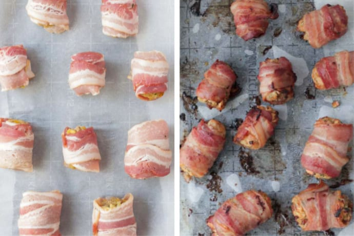 Bacon Rolls before and after going into the oven
