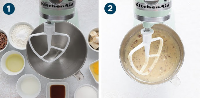 Step 1 - Assemble all ingredients -- Step 2 Process all ingredients in a stand mixer