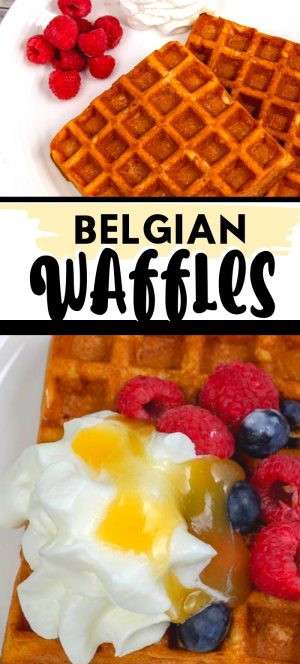 Slice of gluten-free Waffles with fresh Berries and whipped cream