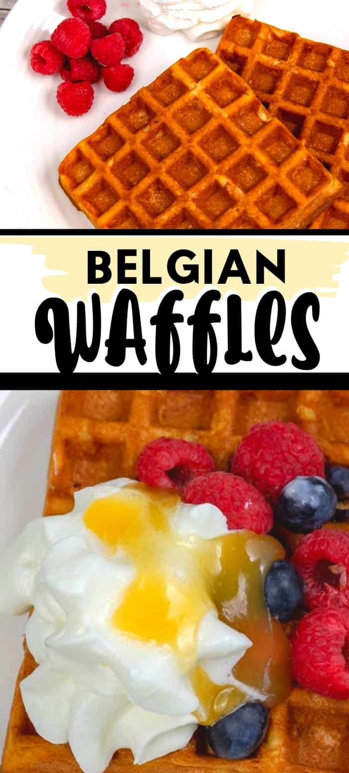 two slices of gluten-free waffles with fresh berries and cream