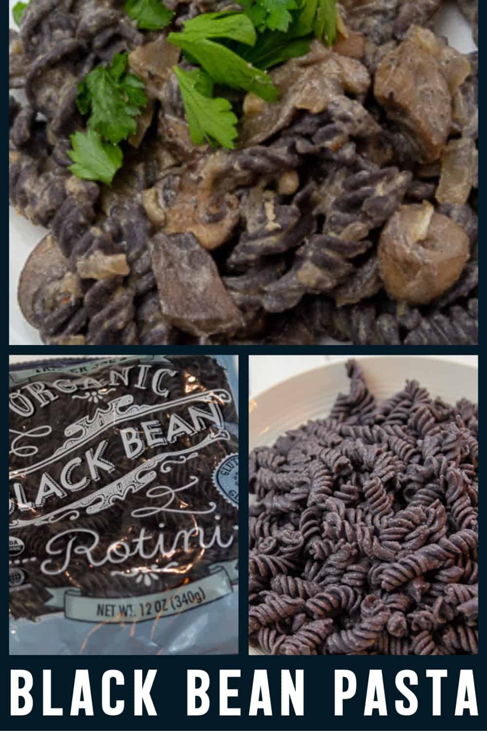 Trader Joe's Black Bean Pasta with Mushroom Cream Sauce
