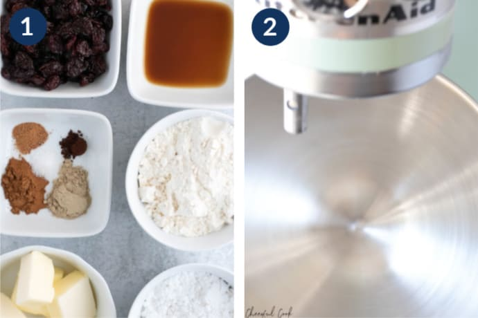 Step 1 - Arrange all the ingredients for the chai spiced cookies | Step 2 - Combine the ingredients in your stand mixer