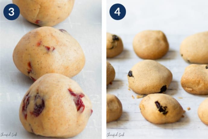 Step 3- Form the cookies into small dough balls and place on baking sheet - Step 5 - remove the baked cookies from the oven