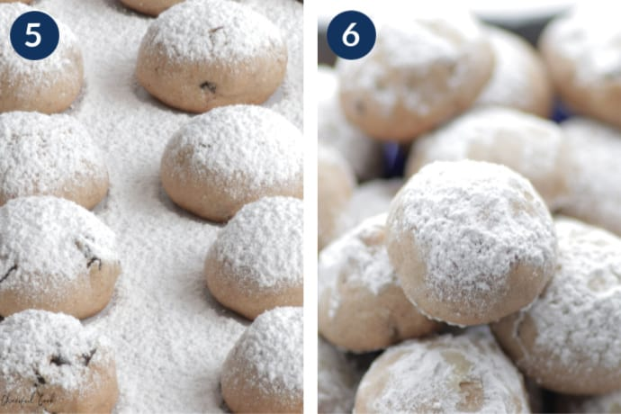 Step 5 - Dust the cookies with powdered sugar - Step 6 - Arrange the cookies on a plate for serving