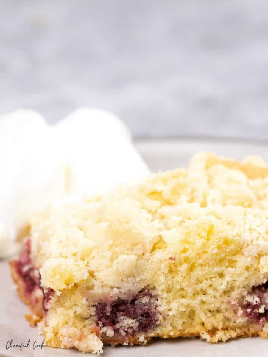a slice of freshly baked German Cherry Crumble (Kirschstreusel) with a side of freshly whipped cream