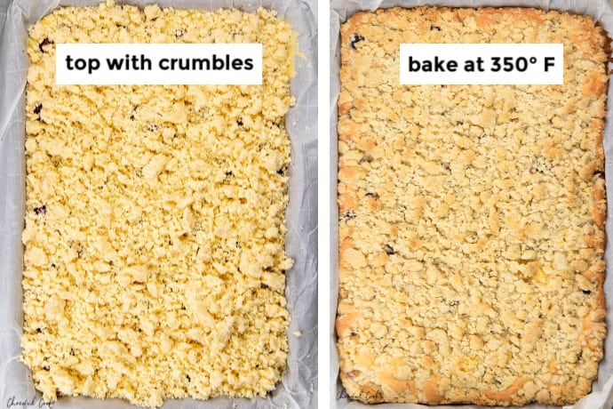 Steps showing cherry crumble topped with the crumbles before and after baking