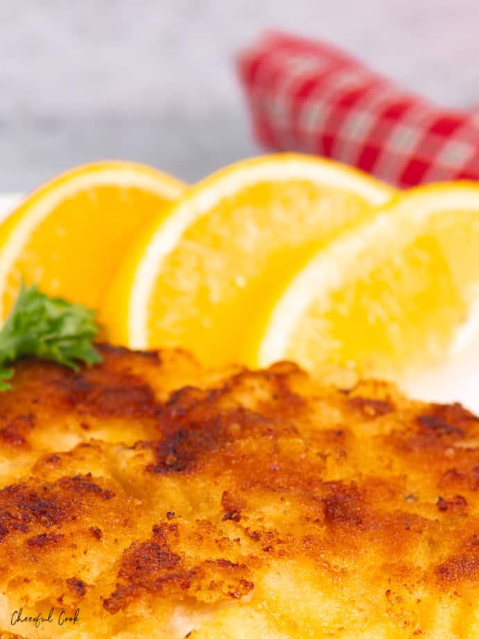 Freshly cooked Chicken Schnitzel