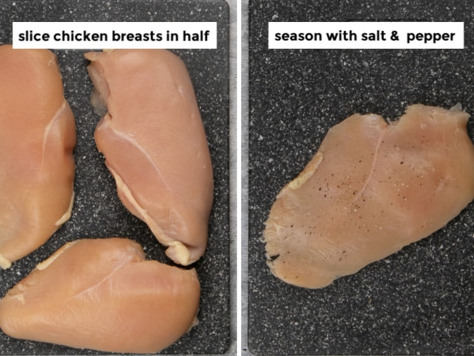 Left: Setting the out the chicken for pounding - Right Step: Season pounded chicken cutlets