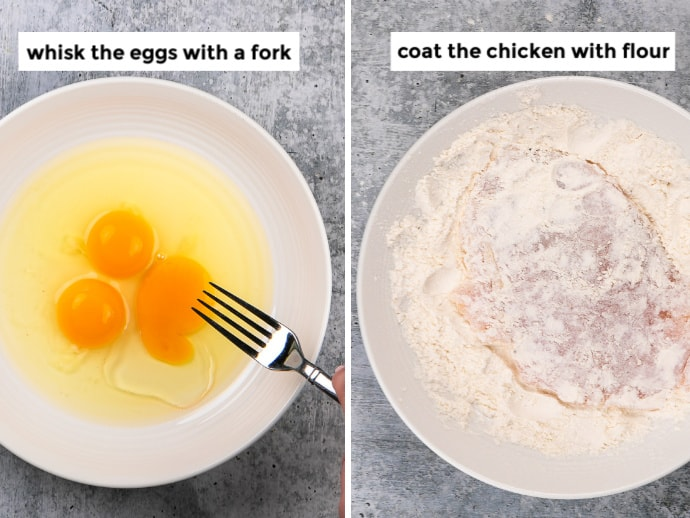 Step Left: Preparing the egg wash + Step Right: Chicken coated in flour