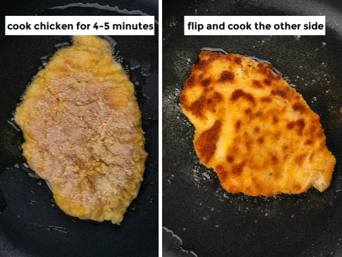 Steps showing how to sauté the chicken schnitzel