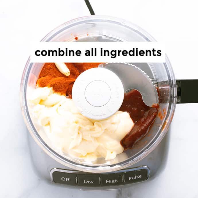 Step showing the ingredients being in the food processor