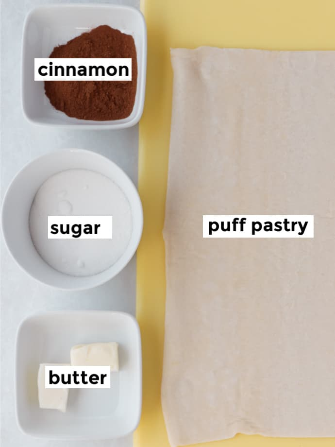 Ingredients: cinnamon, sugar, butter, and puff pastry