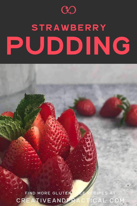 Vanilla Pudding with cream and fresh strawberries