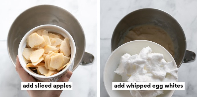 Step 1: add sliced apples | Step 2: add egg whites