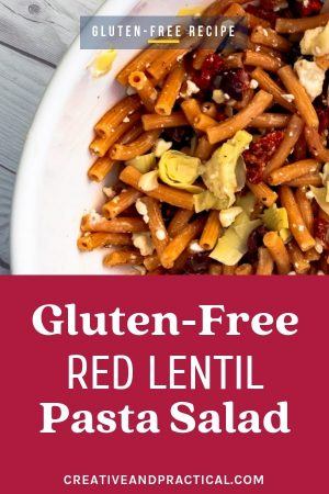 Make your own Gluten-free Red Lentil Pasta Salad in under 15 minutes. This dish is incredibly easy to make, versatile, gluten-free, and vegan. A great gluten free lunch or dinner choice.