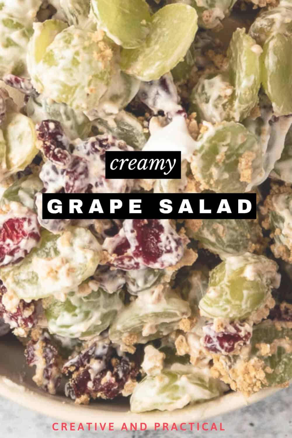 A bowl full of creamy Grape Salad
