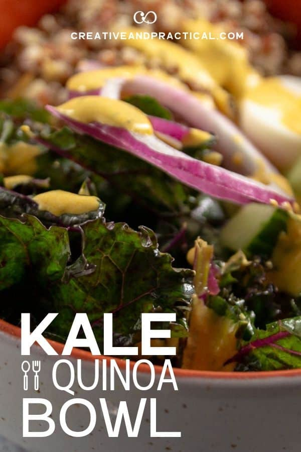 Kale and Quinoa Salad Bowl. Made with a hard boiled egg, cucumber, and red onion.