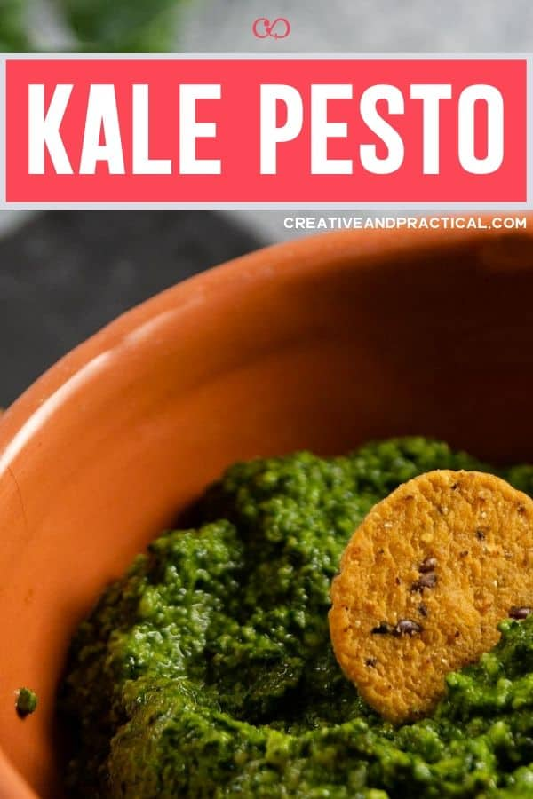 bowl of kale pesto with a sweet potato cracker for snacking