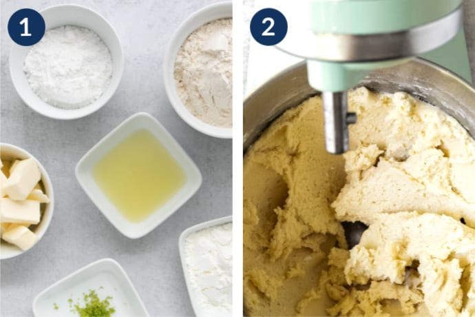 Step 1 - Ingredients for the key lime cookies | Step 2 - dough in the stand mixer