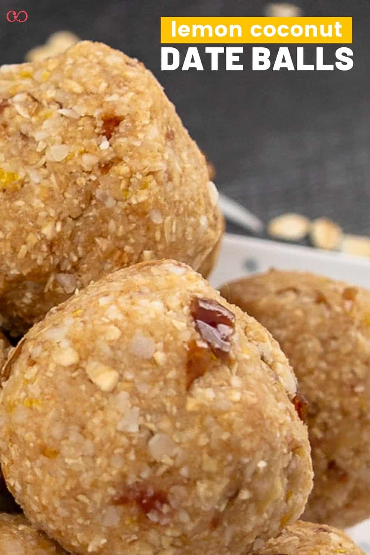 Coconut Lemon Date Balls on a plate