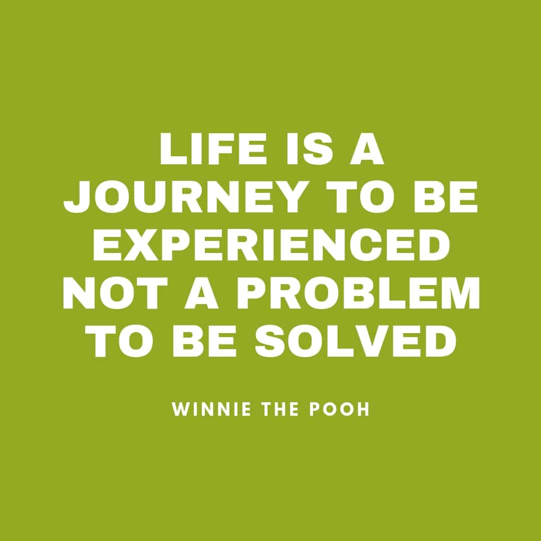 Quote: Life Is A Journey To Be Experienced Not a Problem To Be Solved - Winnie The Pooh