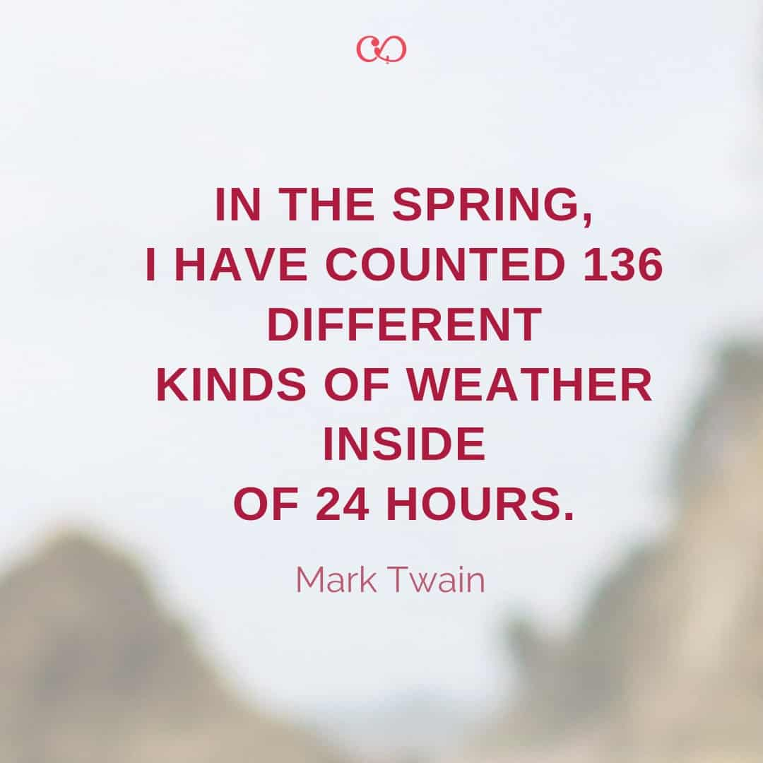 Quote by Mark Twain - In the Spring, I have counted 136 different kinds of weather inside of 24 hours.