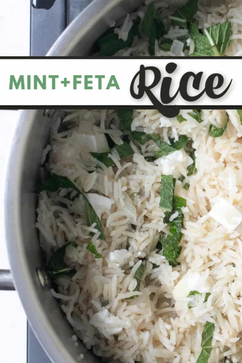 Mint and Feta cheese rice is perfect as a side dish. Top it with shrimp and you've got perfect lunch.