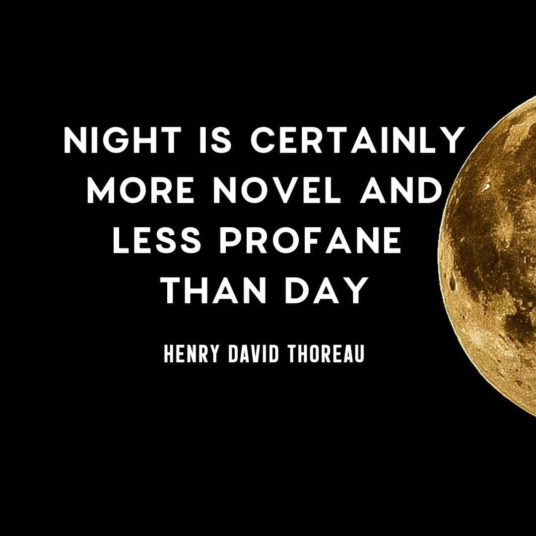 Quote: Night is certainly more novel and less profane than day. - Henry David Thoreau