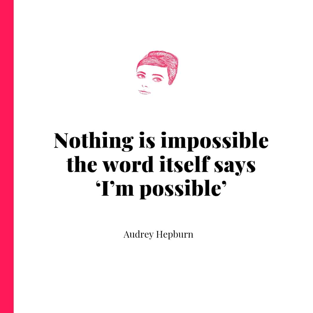 Quote - Nothing is impossible, the word itself says, 'I'm possible'. - Audrey Hepburn
