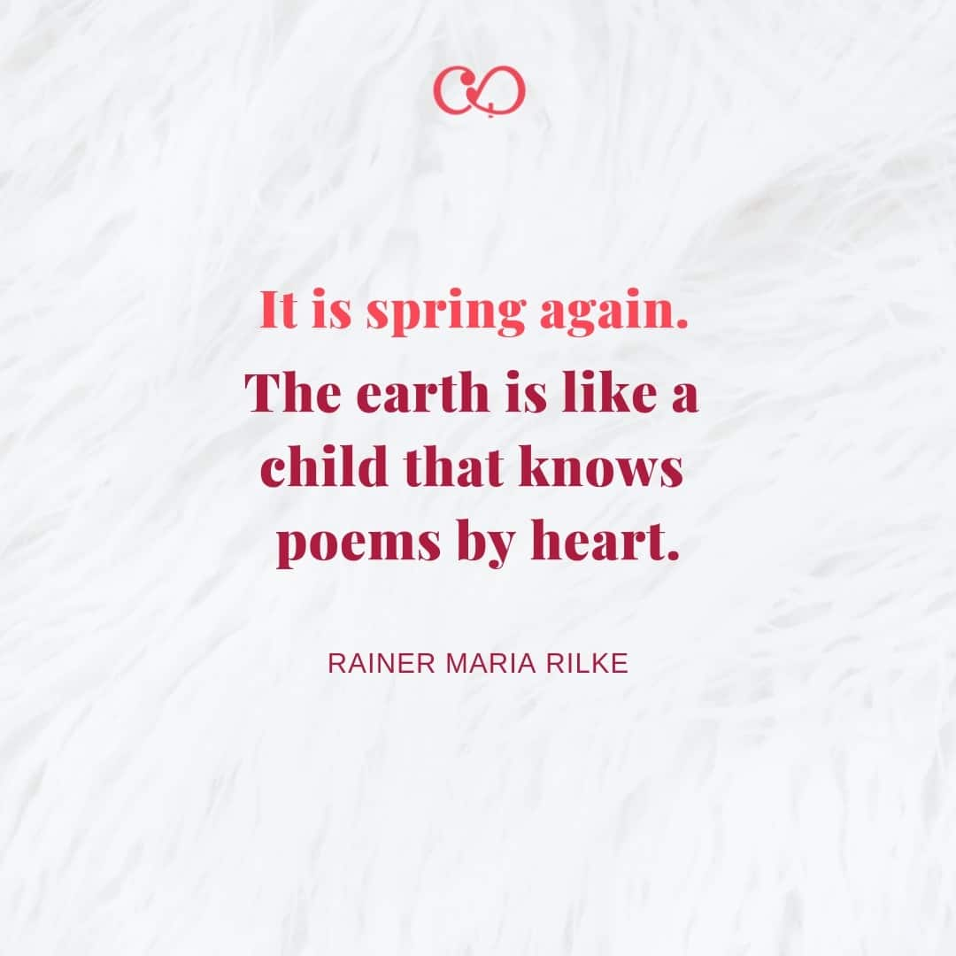 Quote by Rainer Maria Rilke - It is spring again. The earth is like a child that knows poems by heart