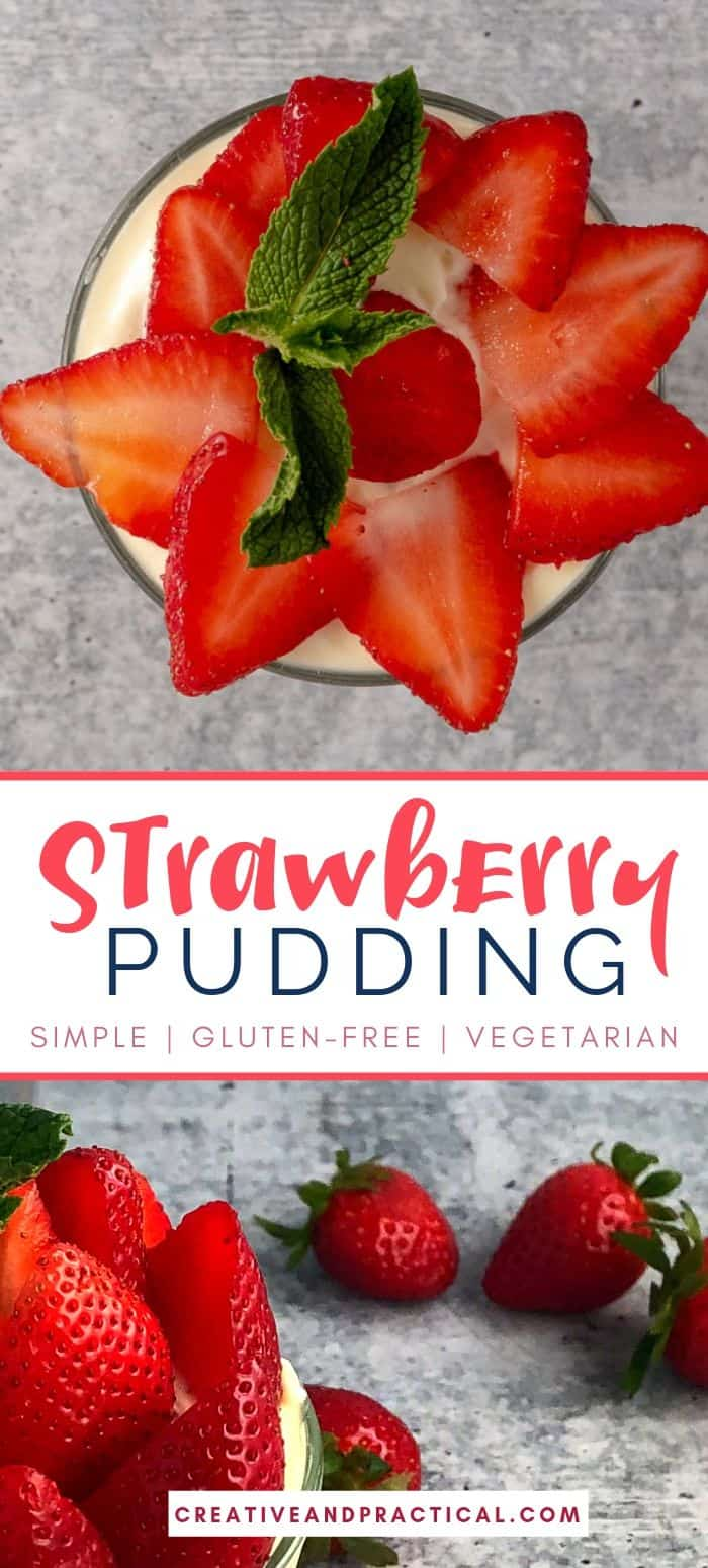 Strawberry Pudding with fresh, sliced strawberries