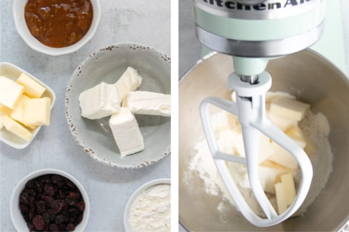 Step 1 and Step 2. Assembling the ingredients for the Strudel Cookies and adding them into a stand mixer bowl.