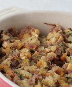 A casserole dish with made from scratch stuffing fresh out of the oven