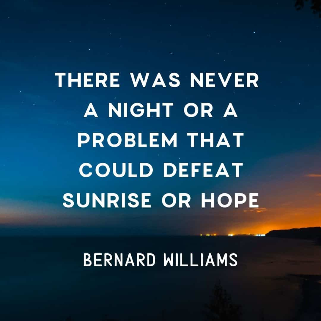 Quote: There was never a night or a problem that could defeat sunrise or hope. - Bernard Williams