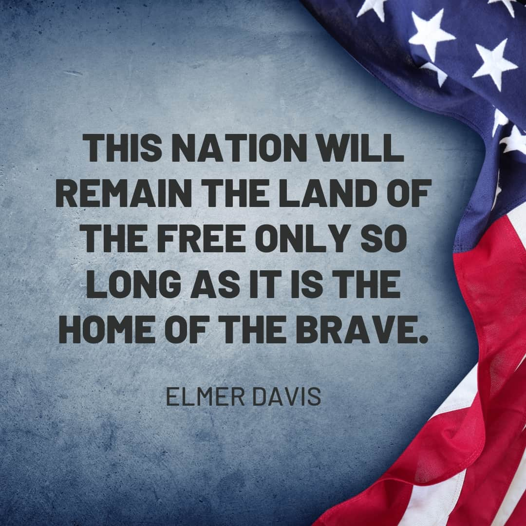 Quote: This nation will remain the land of the free only so long as it is the home of the brave - Elmer Davis