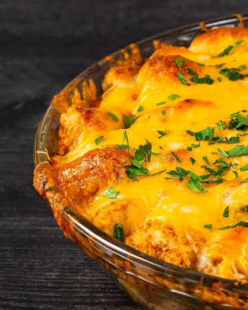 Tater Tot Casserole with Turkey Meatballs fresh from the Oven