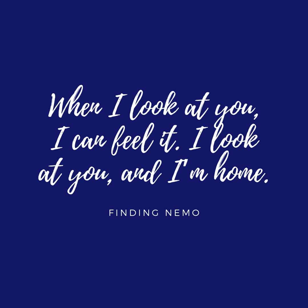 Quote: When I look at you I can feel it I looks at you and I'm home - Finding Nemo