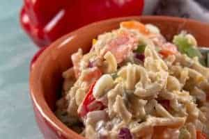 Amish Macaroni Salad in a bowl