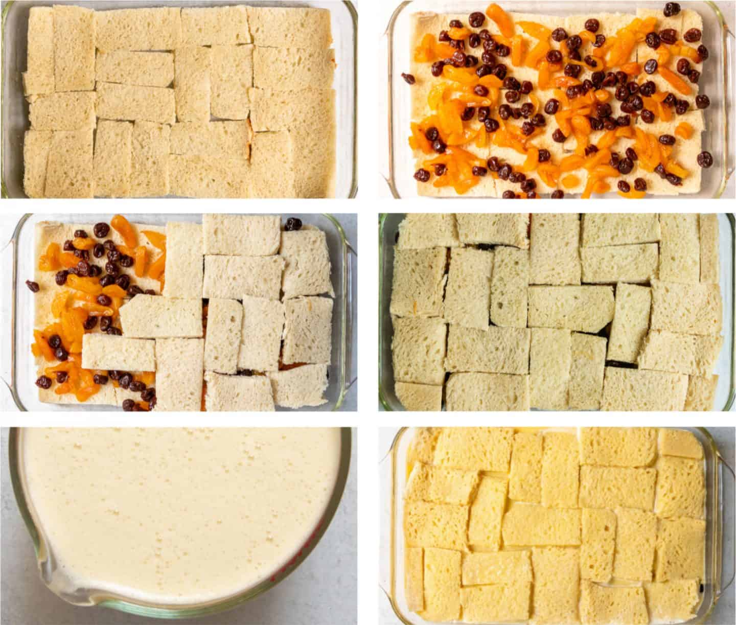 Steps of how to assemble the bread pudding, adding fresh custard