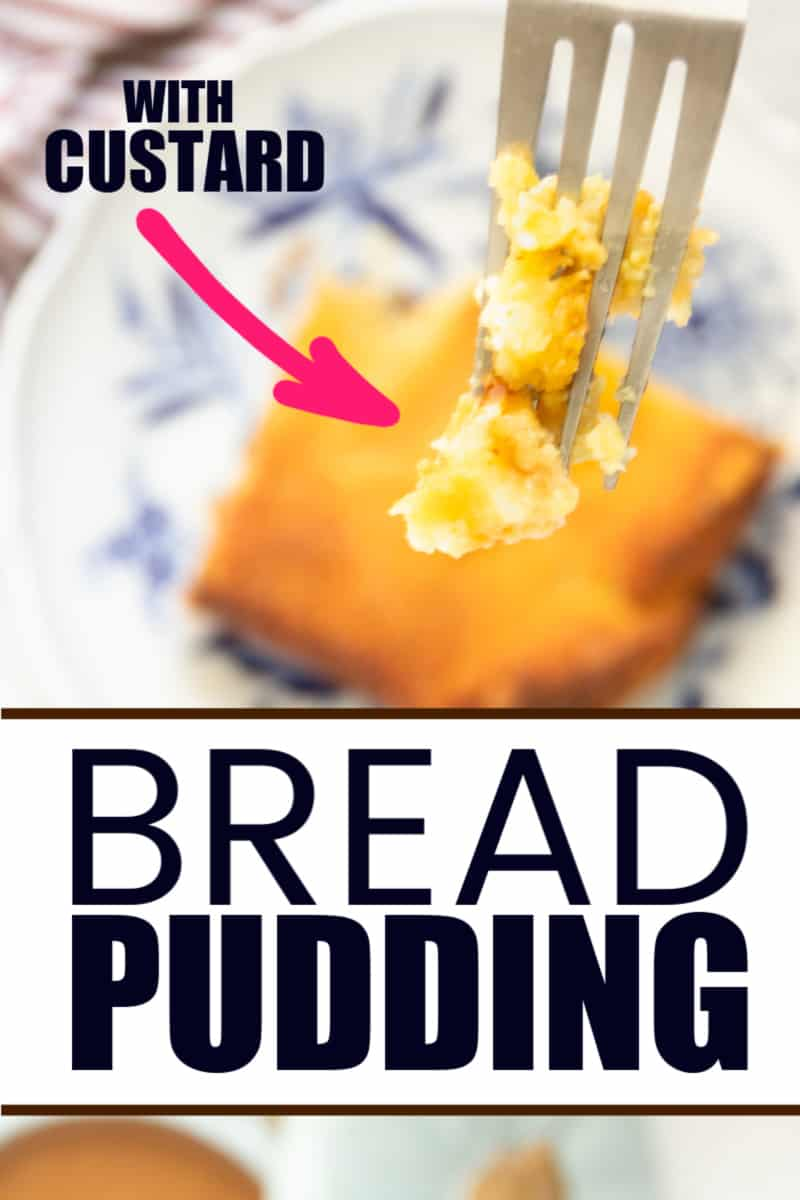 A bite of freshly baked bread pudding