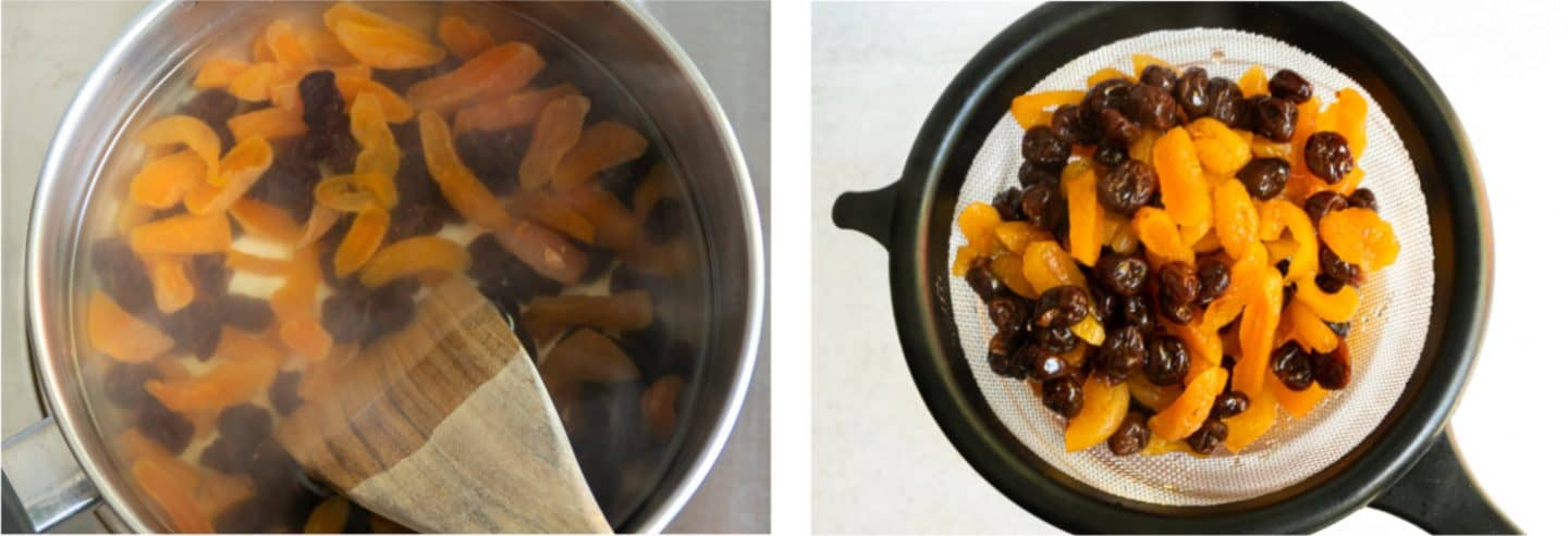 Cooking the the dried apricots and cherries.