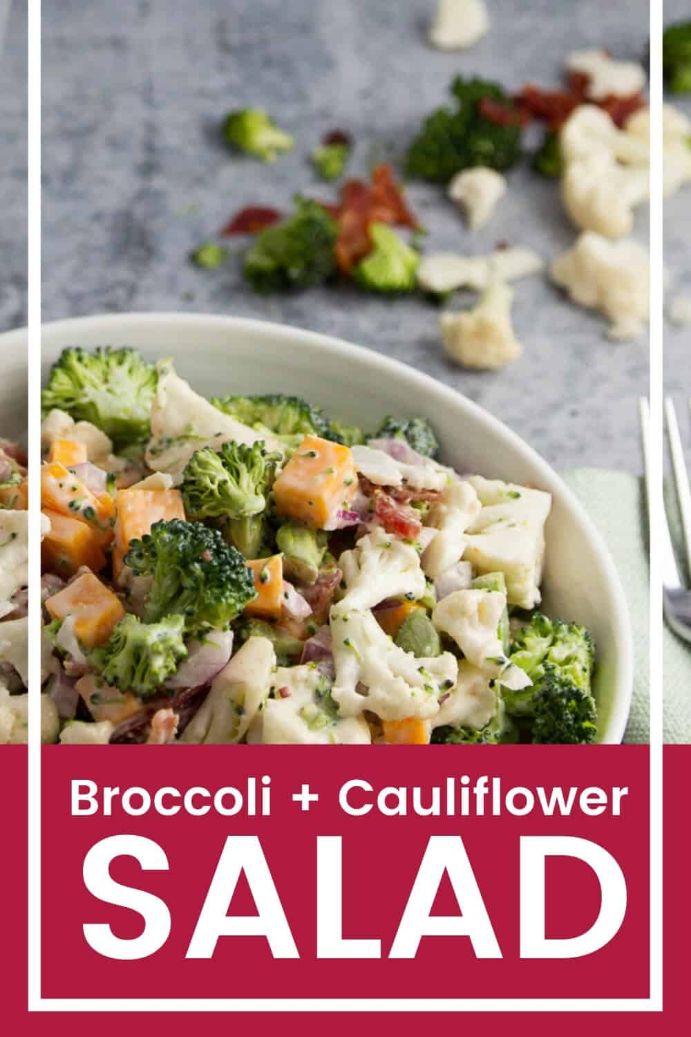 Broccoli, cauliflower, and crispy bacon make up a super simple salad