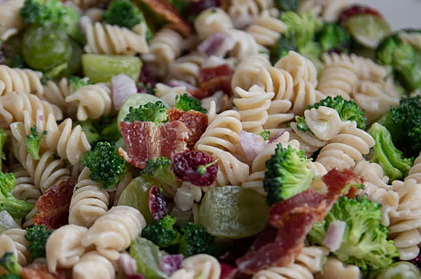 Broccoli, Bacon, Pasta, grapes, and cranberries
